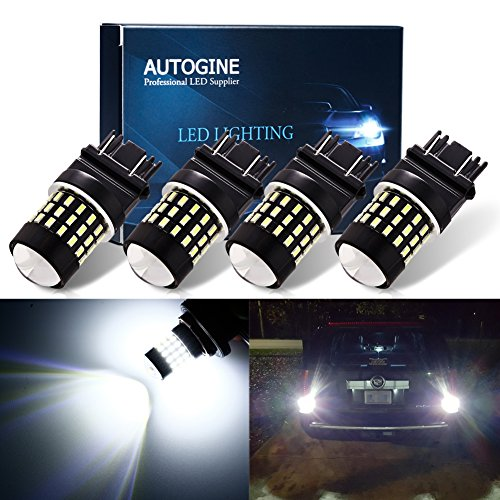 AUTOGINE 4pcs 1000 Lumens 9-30V 3157 3156 3057 3056 4157 LED Bulbs 3014 54-EX Chipsets with Projector for Reverse Back Up Lights DRL Turn Signal Lights Tail Brake Lights, Xenon White