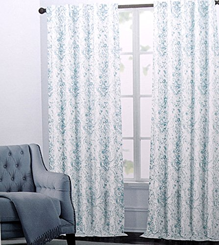 Nicole Miller Aquarelle Paisley Pair Of Curtains 2 Window Panels 52 By  96 Inch Turquoise Teal Aqua White