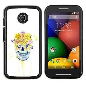 LECELL--Funda protectora / Cubierta / Piel For Motorola Moto E -- Cráneo floral Rose --