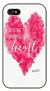 iPhone 4 / 4s Bible Verse - When I wait, you strengthen my heart. Psalm 27 - black plastic case / Verses, Inspirational and Motivational