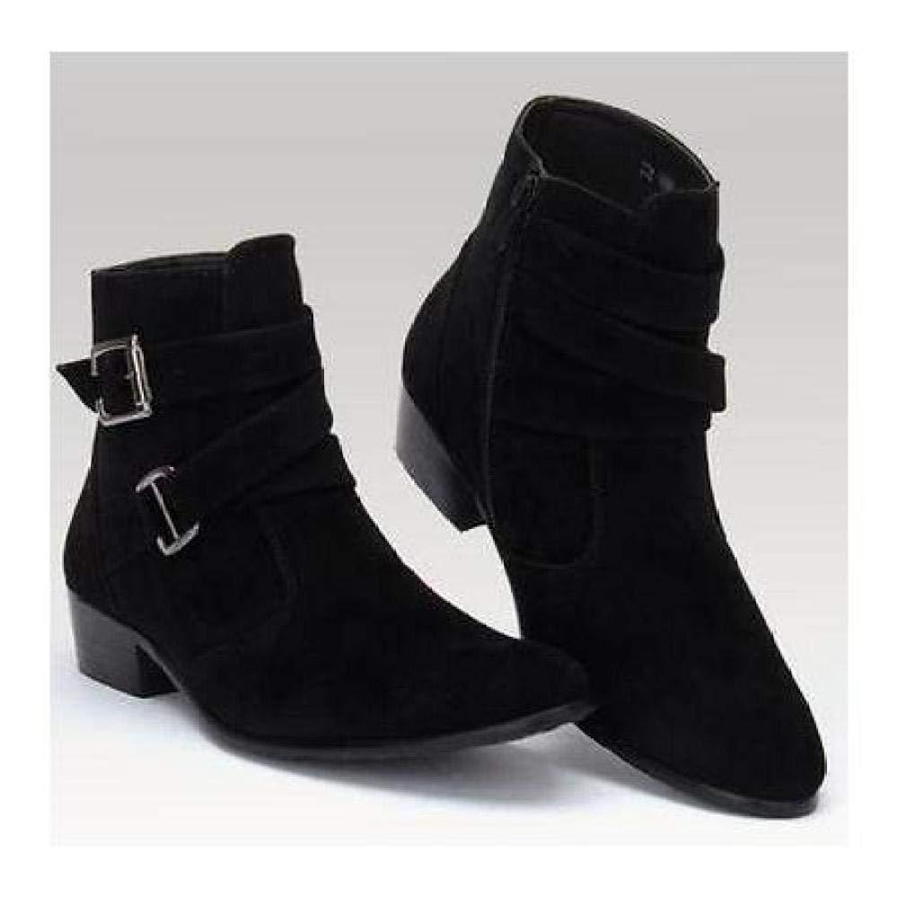 FidgetGear Mens Ankle Boots Chukka Boots Zipper Buckle Strap Dress Shoes Chunky Block Heels White EUR44=US10.5=UK9.5