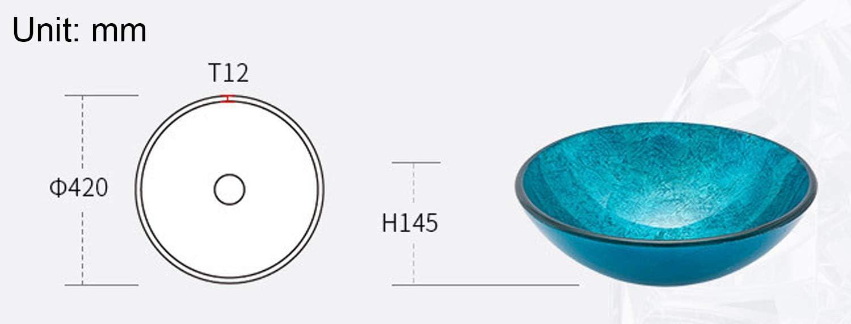 XMZFQ Badezimmer-Beh/älter-Wannen 12 mm geh/ärtetes Glas K/ünstlerische Aufsatzbecken Blau Modern Einfache Waschbecken Vanity Bowl mit Pop-up-Drain,A