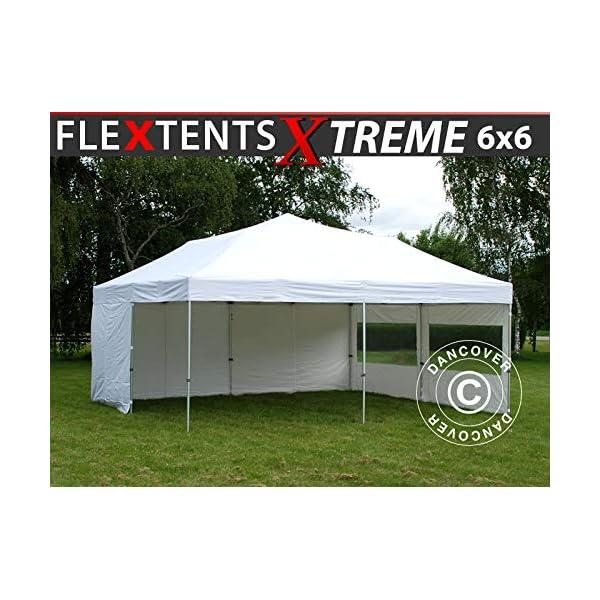 Gazebo Pieghevole Gazebo rapido FleXtents Xtreme 50 6x6m Bianco, Inclusi 8 Fianchi 1 spesavip