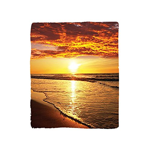 VROSELV Custom Blanket Ocean Collection Sunset at a Long Sandy Beach Sun Lights Up Clouds and the Sea from the Horizon at Hawaii Picture Bedroom Living Room Dorm Orange Yellow Beige by VROSELV