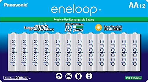 Panasonic BK-3MCCA12FA eneloop AA 2100 Cycle Ni-MH Pre-Charged Rechargeable Batteries, 12 - Panasonic 50 Tv Led