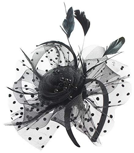 Myjoyday Fascinator Hats for Women Black Tea Party Wedding Hats Headband Veil Hats Flower Cocktail Headwear Hat Hair Clip for Ladies(Black)