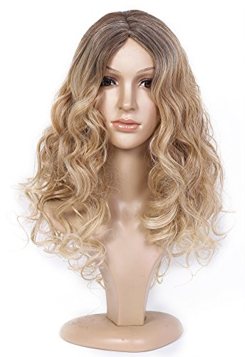 Miss Elegant Sexy Women Long Wavy Curly Full Wigs Party Hair Cosplay Wig (Blonde) NW01 (Costume Ideas For Men With Beards)
