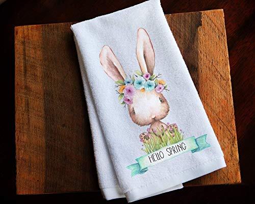 Hello Spring Easter Bunny Kitchen Tea Towel Home Decor Gift ()