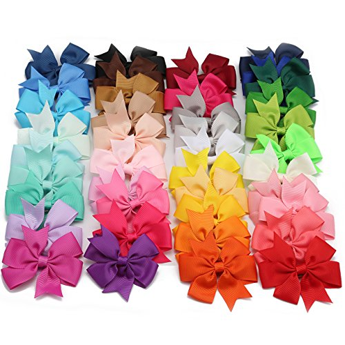 40Pcs 3  Baby Girls Boutique 40 Colors Hair Bows Grosgrain Ribbon Alligator Clips