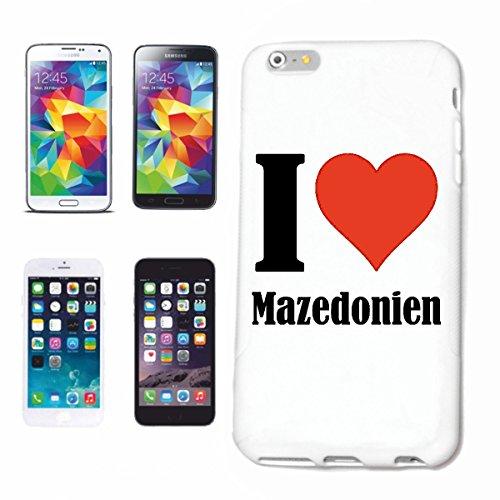 """Handyhülle iPhone 4 / 4S """"I Love Mazedonien"""" Hardcase Schutzhülle Handycover Smart Cover für Apple iPhone … in Weiß … Schlank und schön, das ist unser HardCase. Das Case wird mit einem Klick auf deine"""