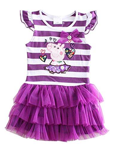 Little Girls Summer Peppa Pig Lapel Rainbow Color Dress (S Purple, 2Y) -