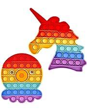 Philicoco 2 Packs Bubble Fidgetness Toy, Knijp sensorische gadget om stress angst te verlichten, speciaal siliconen gadget cadeau voor kinderen volwassenen (poulpe arc-en-ciel et licorn)