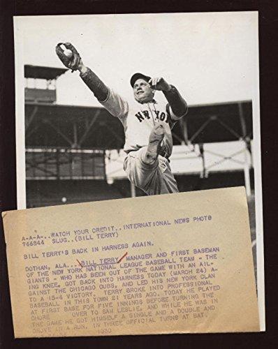 Original 1936 Bill Terry New York Giants Wire Photo