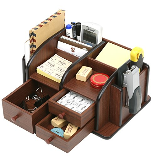 MyGift Wood Office Supplies Organizer with 3 Drawers, Desktop Mail Holder, Brown
