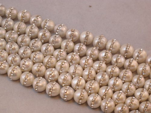 Fresh Water Pearl Natural Pearl Round Shape White 10mm With One-line Rhinestone 41pcs 15.5'' Cultured Freshwater Pear