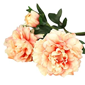 Mandystore Artificial Silk Fake Flowers Peony Floral Wedding Home Decor (Orange) 37