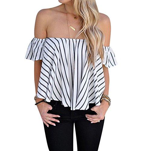 Blackobe Women's Off Shoulder Stripe Casual Blouse Shirt Tops (S)