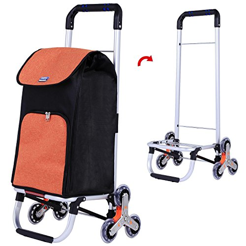 dtemple Foldable Shopping Cart,Stainless Steel Car Body Large Capacity Oxford Cloth Bag Portable Shopping Cart by dtemple (Image #3)