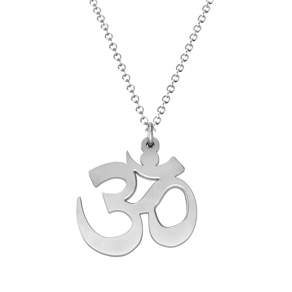 14K Yellow Gold Good Vibes Only Om Necklace by JEWLR