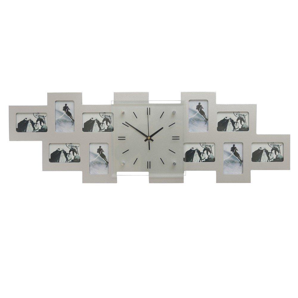 Amazon.de: Wanduhr mit Bilderrahmen   Fotogalerie Uhr   für 10 Fotos ...