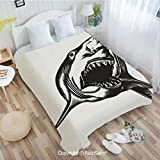 PUTIEN 3D Print Flannel Blanket Digital Sketch of Wild Fish with Open Mouth Power King of The Oean Illustration Sofa Blanket for Bedroom(49Wx59L)