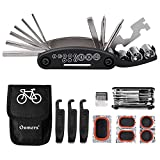 Oumers 16 in 1 Multi Function Bike Tools with Patch Kit & Tire Levers, Bicycle Fix Tool Kit, Bike Cycling Repair Tools Bundle, Cycle Maintenance Kits Set with Pouch, Bike Multifunction Tool
