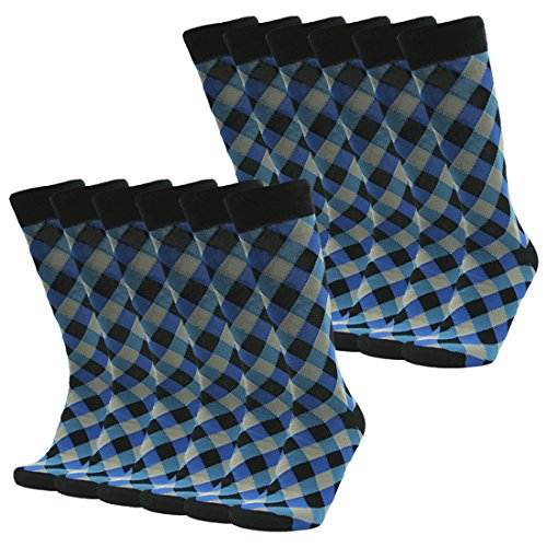 Groomsmen Golf (Groomsmen Wedding Socks, SUTTOS Men's Suit Business Socks Blue Black Diamond Sharp Fashion Design Big & Tall Stretchy Boot Sock,12 Pairs Luxury Clothes Apparel Business Husband Father)