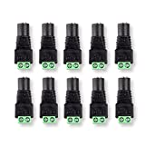 DCFun 5.5mm x 2.1mm DC Jack Connector -DC Plug Female to Screw Terminal for LED Tape Strip Light and DC Power Connections 10-Pack