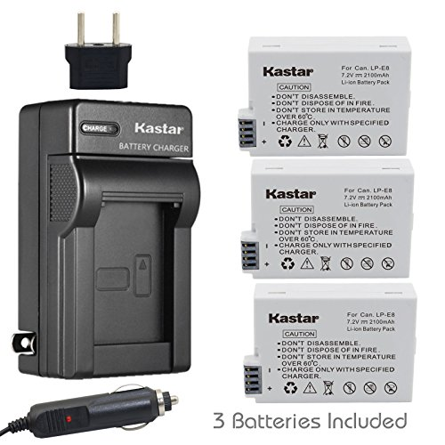 Kastar Battery (3-Pack) and Charger Kit for Canon LP-E8, LPE8, LC-E8E work with Canon EOS 550D, EOS 600D, EOS 700D, EOS Rebel T2i, EOS Rebel T3i, EOS Rebel T4i, EOS Rebel T5i Cameras and BG-E8 Grip