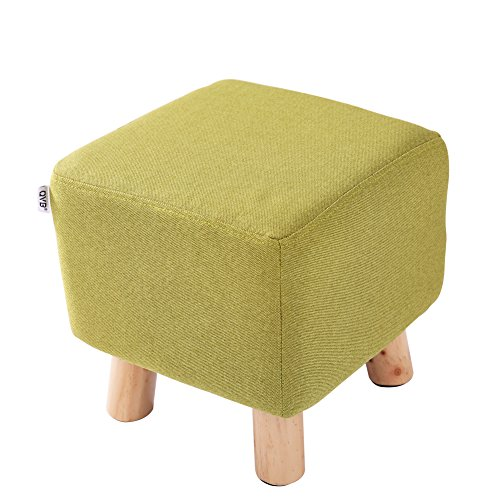 Green Small Linen Foot Stool Modern Pouf Foot Rest with 4 Beech Foot,QVB Green Color (Small Wooden Ottoman)