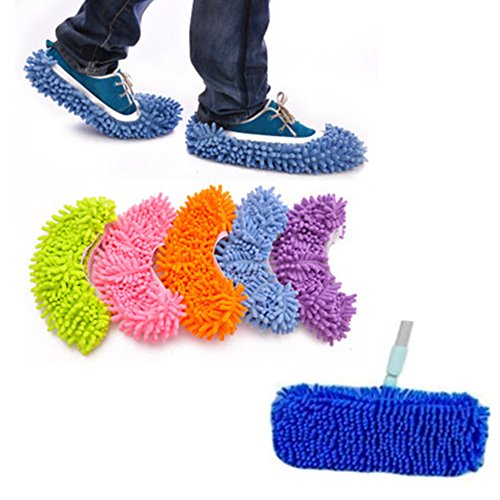 (10pcs (5 Pairs) Kids Children Multi Function Dust Mop Slipper House Cleaner Washable Lazy Floor Dusting Cleaning Foot Shoe Covers Office Home Floor Bathroom Kitchen Cleaner)