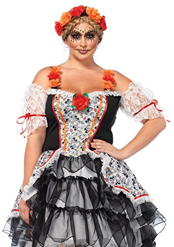 Leg Avenue Women's Plus Size Lovely Calavera Costume, Multi, 1X-2X