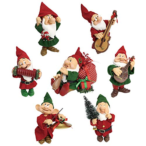 "Department 56 Disney Seven Dwarfs Christmas Celebration by Possible Dreams Figurine, 5"", Multicolor"