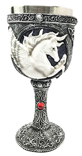 Ebros Magical Enchanted Heavenly Kingdom Pegasus Horse Wine Goblet Drink Chalice Resin Figurine With Stainless Steel Cup 8 Ounces ()