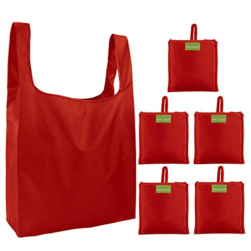 Red Reusable Grocery Bags 5 Pack, Grocery Tote Foldable into Attached Pouch, Ripstop Polyester Reusable Shopping Bags, Washable, Durable and Lightweight