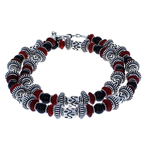 Timeless-Treasures Handcrafted Balinese Sterling, Red Horn & Black Onyx Mens Beaded Necklace - 18