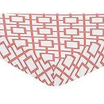 Sweet-Jojo-Designs-Fitted-Crib-Sheet-for-White-and-Coral-Diamond-BabyToddler-Bedding-Diamond-Print