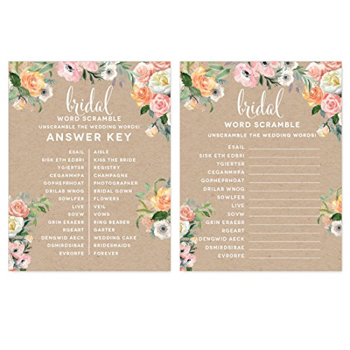 (Andaz Press Peach Coral Kraft Brown Rustic Floral Garden Party Wedding Collection, Wedding Word Scramble Bridal Shower Game Cards, 20-Pack)