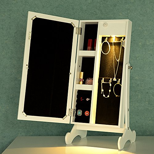 Cloud Mountain Make Up Mirrored Jewelry Cabinet Free Standing Jewelry Armoire Mini Table Tilting Jewelry Organizer, White by Cloud Mountain (Image #5)
