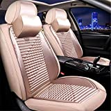 Sunluway 15PCS Universal Auto Car Seat Covers Seats Full Set Needlework PU Leather Anti-Slip Protector Decorate Four Seasons General Car Seat Cushions Fit for All Most Five Seat Car (Beige)