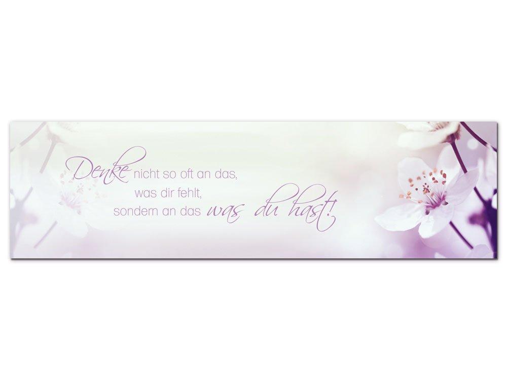 GRAZDesign 100028_004_01_04 Wandbild mit Spruch Denke Nicht so oft an Das | Blumige Wand-Deko für Wohnzimmer | Glasbild aus Acrylglas (180x50cm)