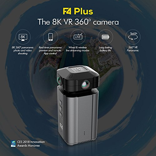 (TPOTOO Detu F4 Plus Professional 4 Lenses VR 360° Camera F2.2 Aperture 8K Panoramic Photo Video Shooting Real-time Panorama Preview CES Innovation Awards 2018)