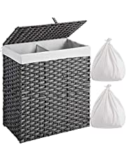 Greenstell Laundry Hamper with 2 Removable Liner Bags, Divided Hampers Handwoven Synthetic Rattan Laundry Basket with Lid and Handles, Foldable and Easy to Install panier à linge Grey (22x12x24 Inches)