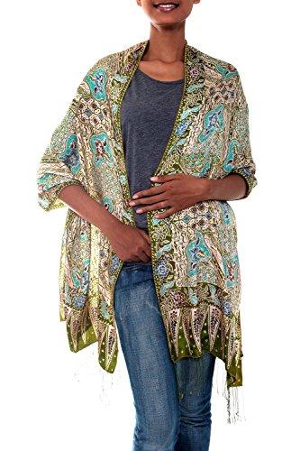 NOVICA Multicolor 100% Silk Batik Shawl, Lavish Java'