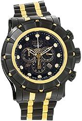 Invicta Men's Reserve Gold-Tone Steel Bracelet & Case Swiss Quartz Black Dial Analog Watch 16950