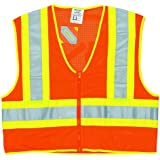 MCR Safety WCCL2OL Class 2 Polyester Mesh Safety Vest with 3M Scotchlite 4-1/2-Inch Yellow/Silver Reflective Stripe, Fluorescent Orange, Large