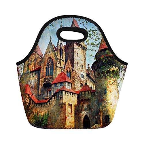 Semtomn Neoprene Lunch Tote Bag Vintage Castle From Fairy Tale Medieval Kreuzenstein in Austria Reusable Cooler Bags Insulated Thermal Picnic Handbag for Travel,School,Outdoors, Work (Best Attractions In Austria)