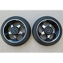 DIS 110mm Spoked Black on Silver Metal Core Park Scooter Wheels (Pair - 2 wheels) with Bearings and Spacers Installed