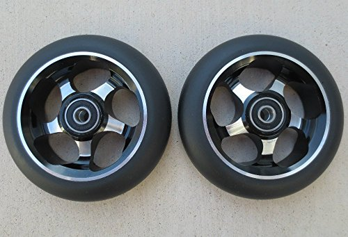 Price comparison product image DIS 110mm Spoked Black on Silver Metal Core Park Scooter Wheels (Pair - 2 wheels) with Bearings and Spacers Installed
