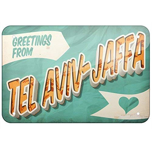 Jacksoney Tin Sign New Aluminum Greetings from Tel Aviv-Jaffa Postcard 11.8 x 7.8 Inch ()